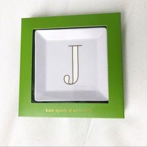 "NEW Kate Spade It's Personal Jewelry Tray Dish ""J"""